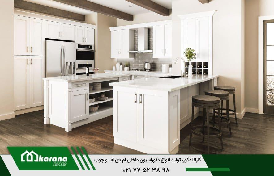 مدل سفید کابینت ام دی اف آشپزخانه کوچک